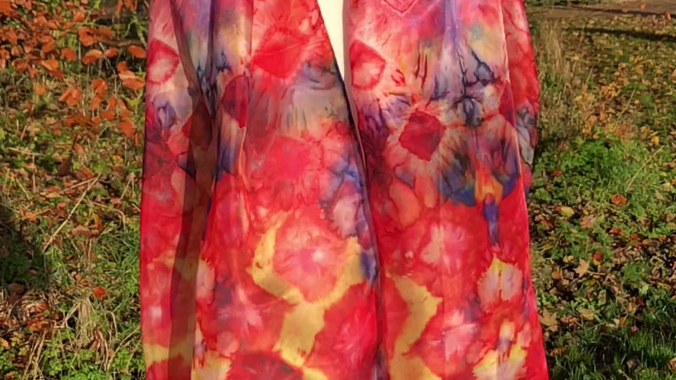 Multi Coloured Tulip Garden Hand Painted Pure Silk Scarf ~ One Of A Kind