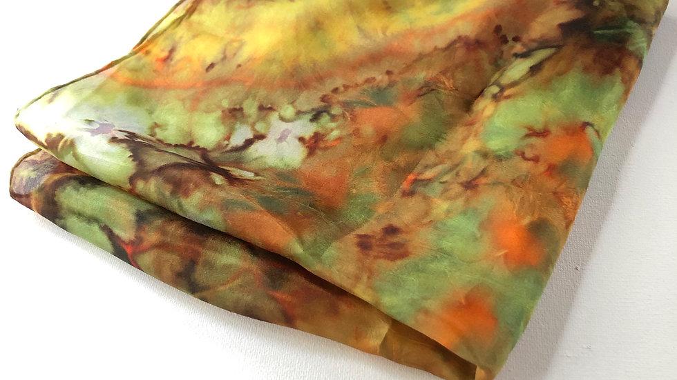 Large Russet, Orange & Green Green Silk Pocket Square ~ Handkerchief