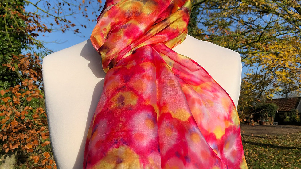 Perfect Peonies Garden Hand Painted Pure Silk Scarf ~ One Of A Kind