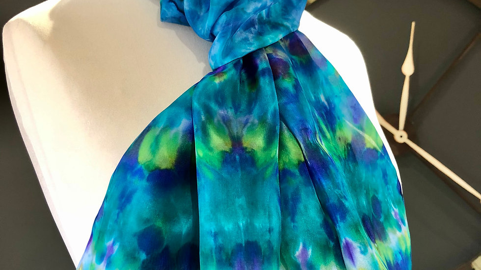 Bluebells in the Wood Hand Painted Greens Pure Silk Scarf ~ One Of A Kind