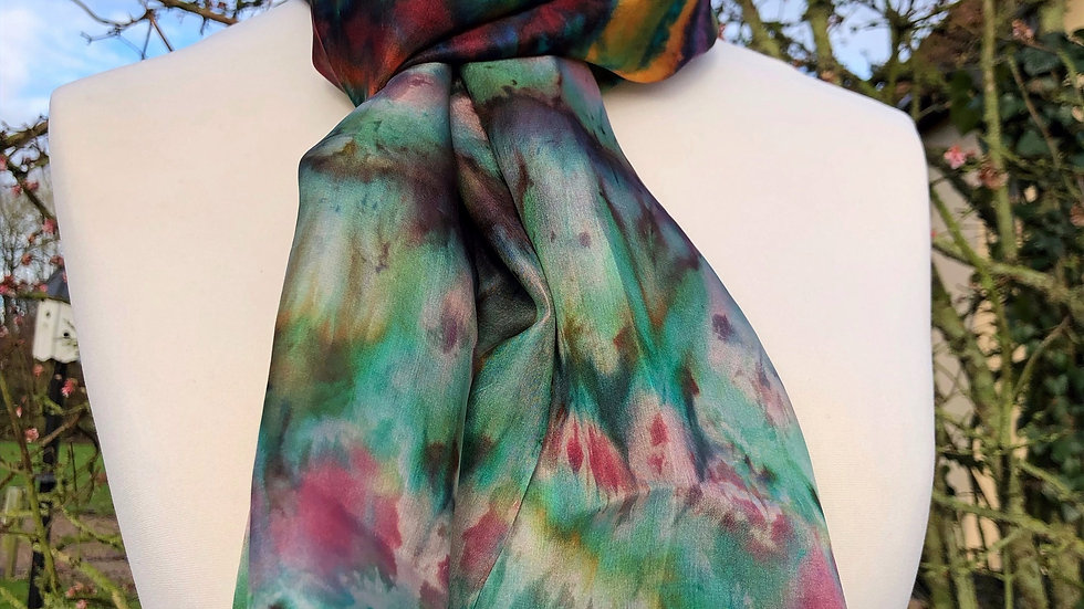 Coccus Celebrations Hand Painted Pure Silk Scarf ~ One Of A Kind