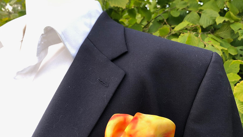 Large Orange, Yellow & Green Silk Pocket Square ~ Handkerchief