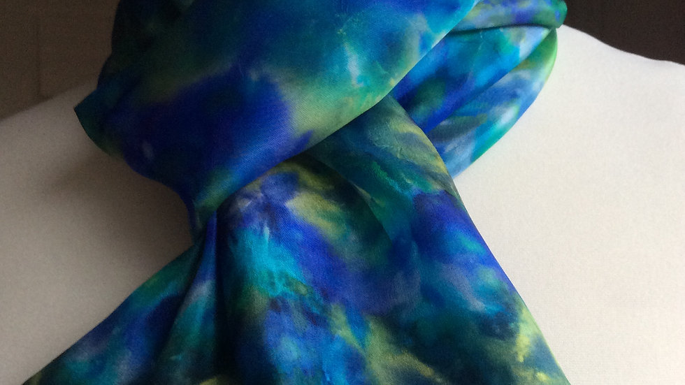 Hydrangea Hand Painted Pure Silk Scarf ~ One Of A Kind