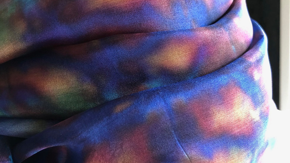 Wild Poppy Hand Painted Pure Silk Scarf ~ One Of A Kind