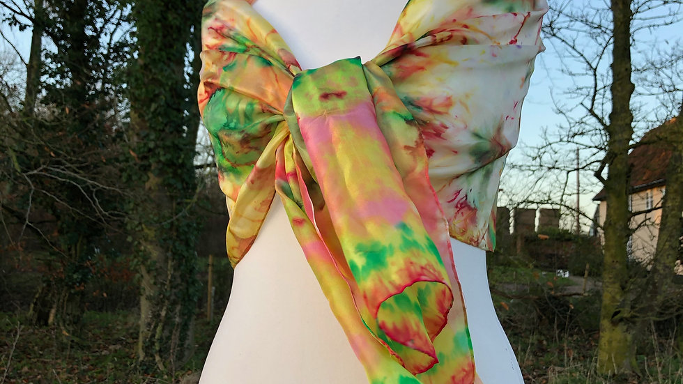 Tulip Fields Hand Painted Pure Silk Scarf ~ One Of A Kind
