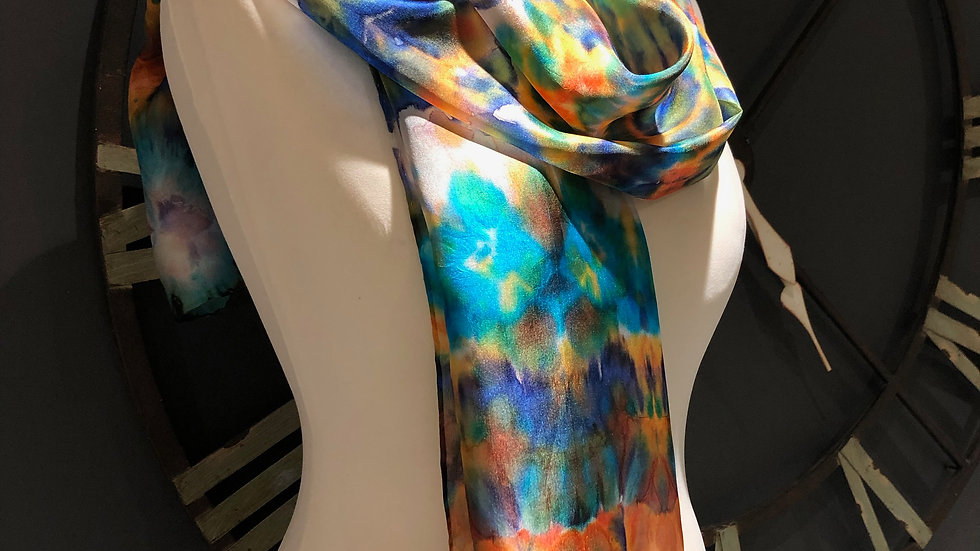 Birds of Paradise Hand Painted Pure Silk Scarf ~ One Of A Kind