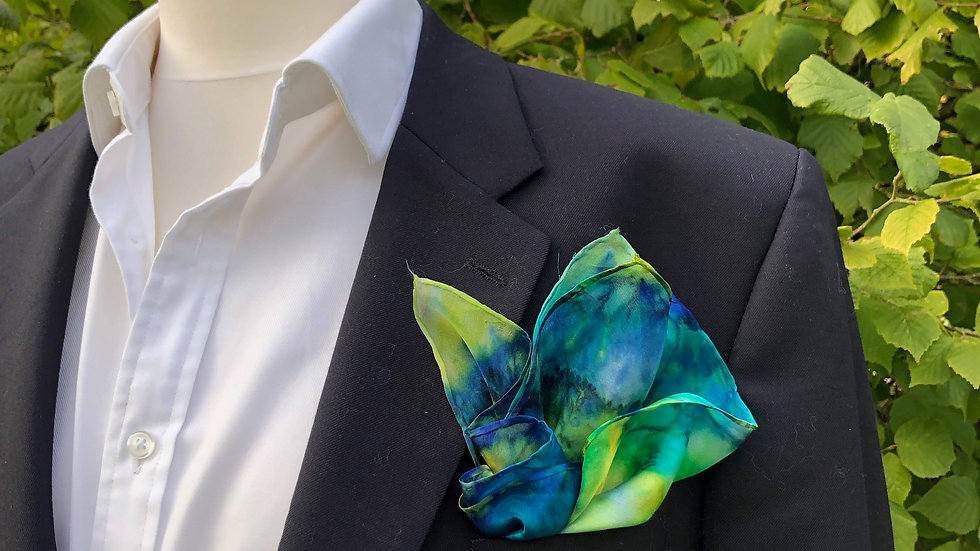 Large Green, Blue and Yellow Silk Pocket Square ~ Handkerchief