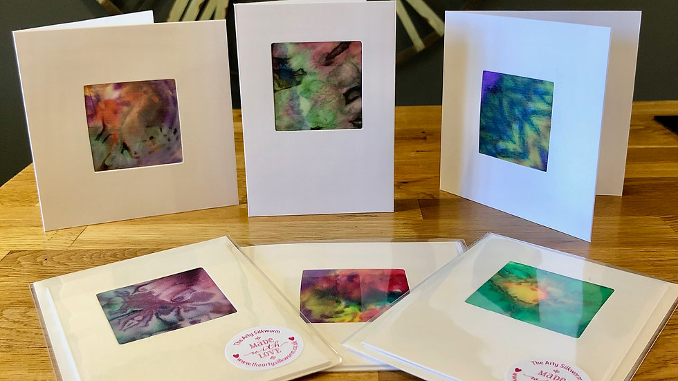 Beautiful Hand-made Silk Greetings Cards in Sets of 3