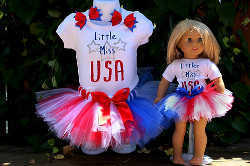 Little and Littler Miss USA Child and Doll Outfit Set