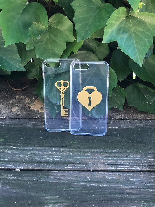 Heart Lock and Key Phone Case Set
