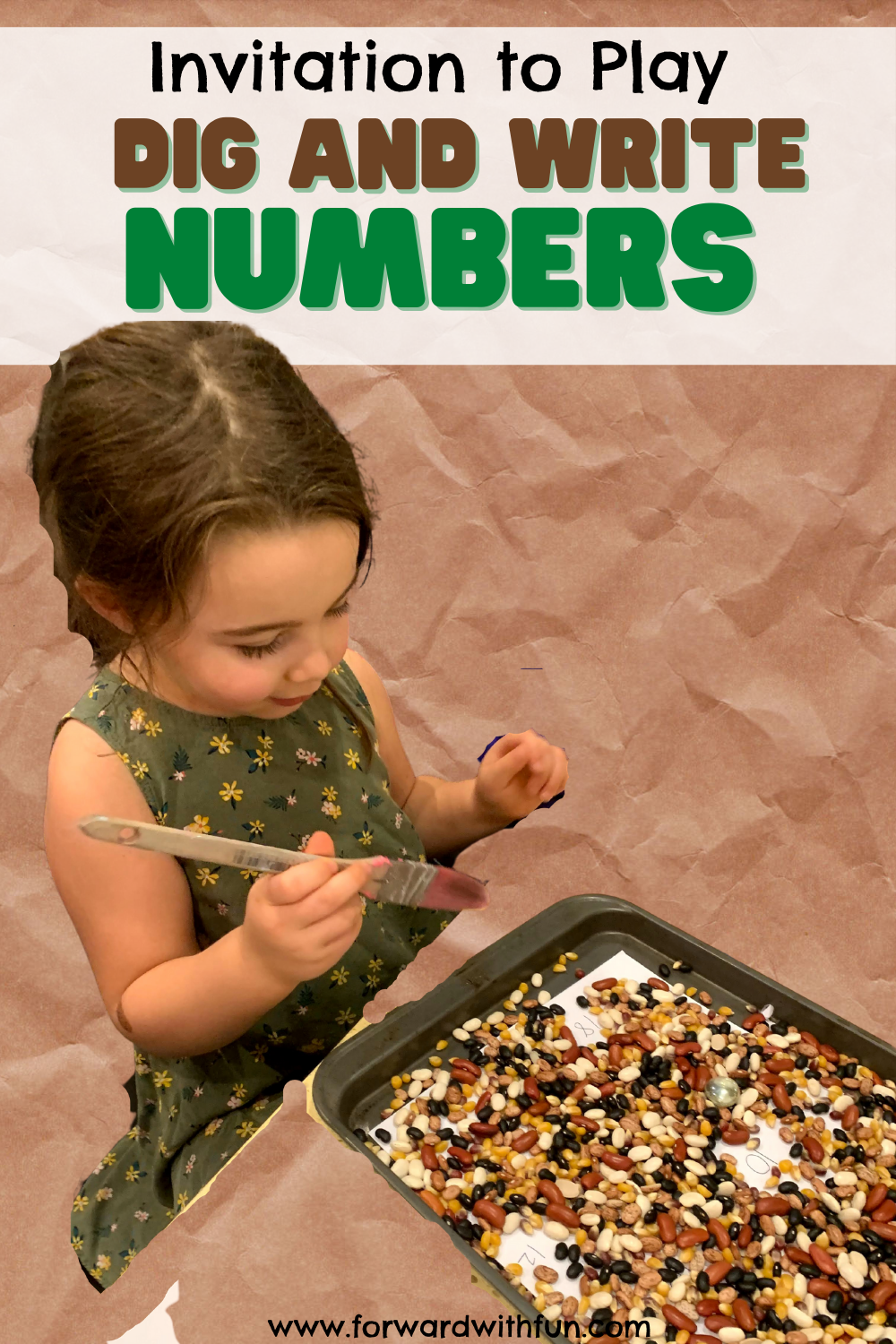 Child digging for numbers through beans