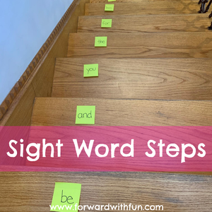 Sight words are written on each step