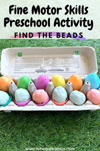 Egg carton full of play doh eggs that are hiding beads