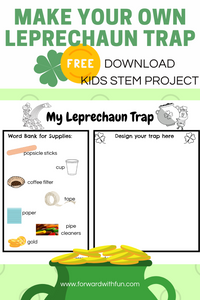 Preview of the printable entitled make your own leprechaun trap. kids will see supplies needed to make the trap and design a prototype
