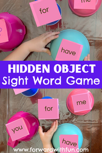 Can you find the magic object under the bowls that the sight words are written on?