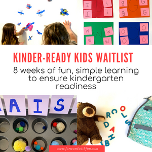"""kids doing simple activities like peeling tape off a wall, placing pom poms in a muffin pan. title says """"kinder ready kids waitlist"""""""