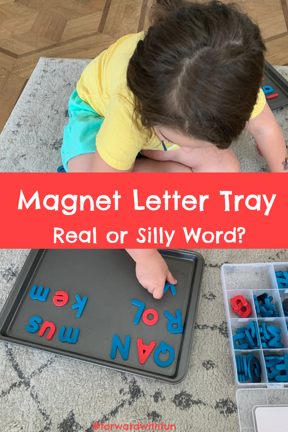 child putting magnet letters on a tray to make words that are either made up or real. Using letters with their sounds to create meaning.