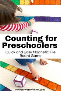 "magnet tiles attached to form board game, foam die showing number to move each character forward. Title ""counting for preschoolers quick and easy magnetic tile board game."""