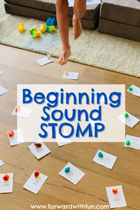 jumping feet on letters with playdoh next to them