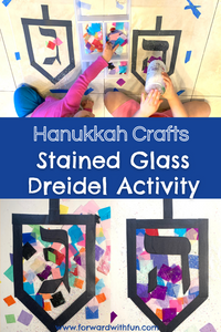 kids decorating dreidel shapes with tissue paper and glitter