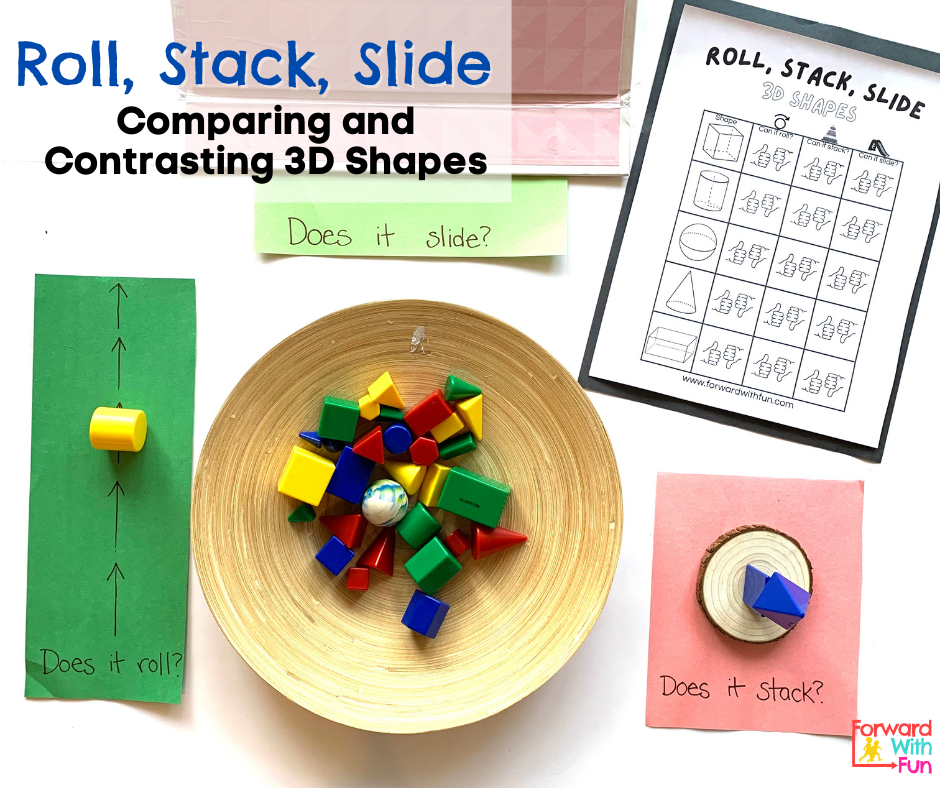 3d shapes in a bowl surrounded by invitations to play with them by sliding, rolling, and stacking