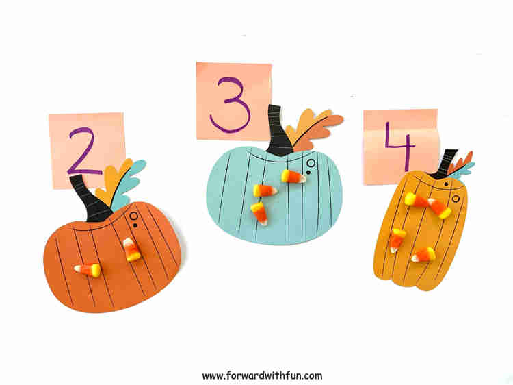 Candy corn counters match the number assigned to each pumpkin