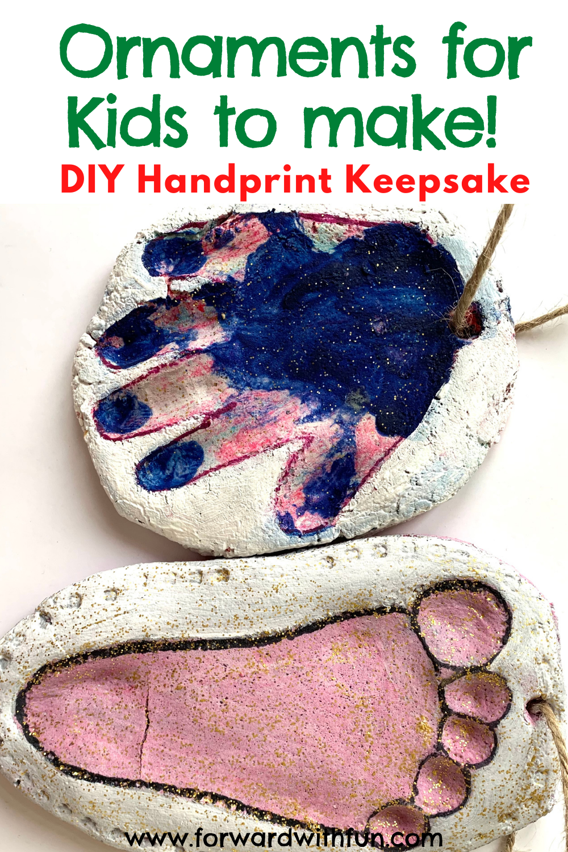 two handprint ornaments