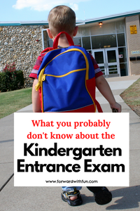 young boy walking onto school grounds with a blue backpack. title on it says what you probably don't know about the kindergarten entrance exam