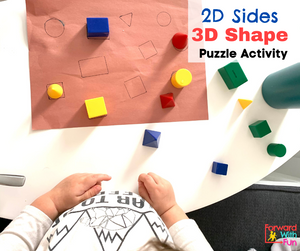 child matching 3d shapes to their 2d sides