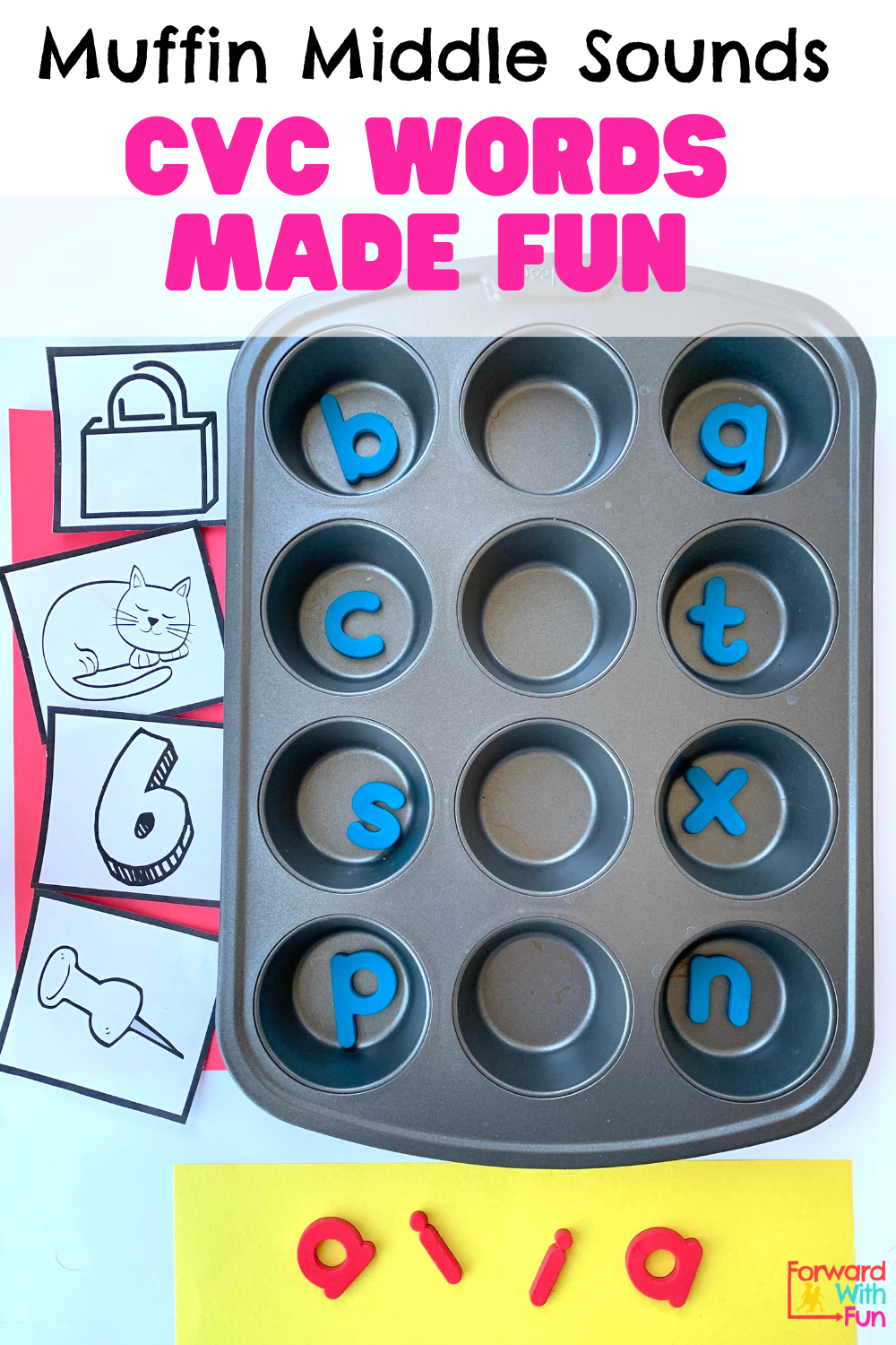 Muffin pan words missing the middle sounds