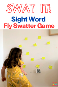 Child using a fly swatter to hit sight words in a high speed identification game