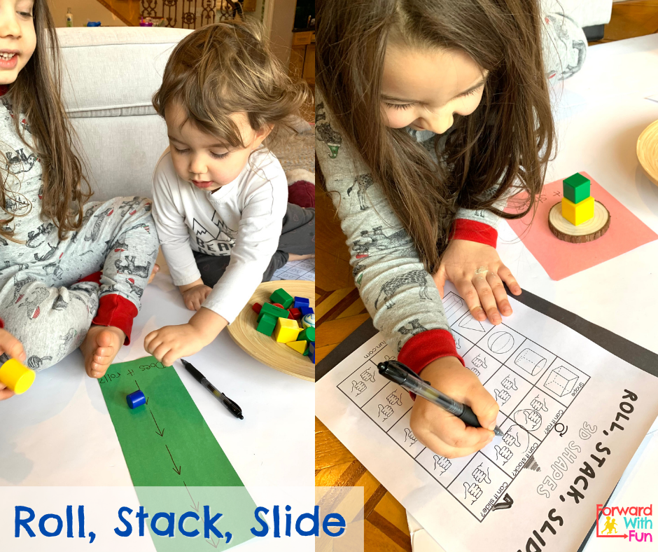 two kids, rolling 3d shapes and recording results on the 3d shapes roll stack slide downloadable