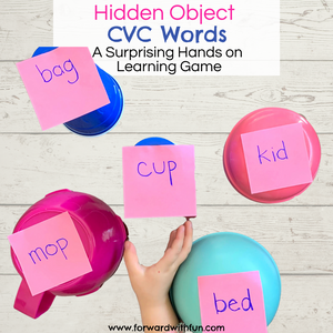 Child picking up cups with words on them