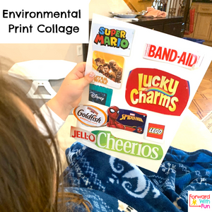 Kids logos collaged onto a piece of white paper. Child holding the collage. Logos/Words include: super mario, band-aid, start wars, lucky charms, disney, goldfish, spiderman, lego, jell-o, cheerios