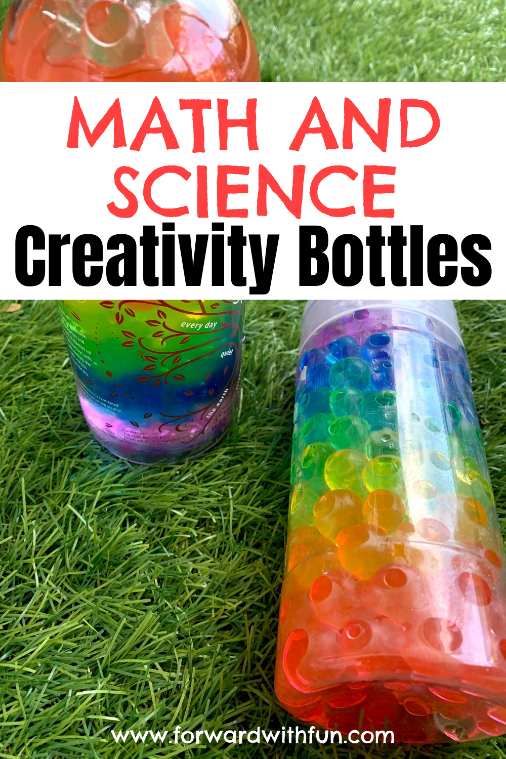 water beads in clear containers making a rainbow effect