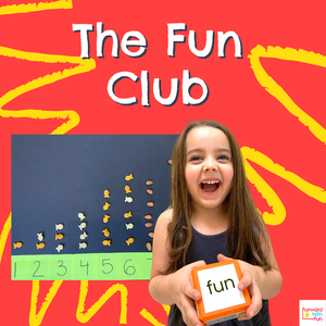 Child holding die with CVC word on it: fun, The Fun Club advertisement