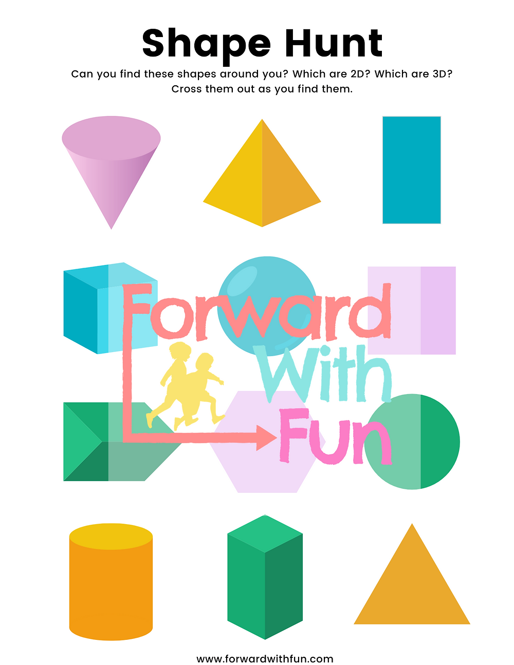 Downloadable shape hunt activity showing 3d and 2d shapes to find