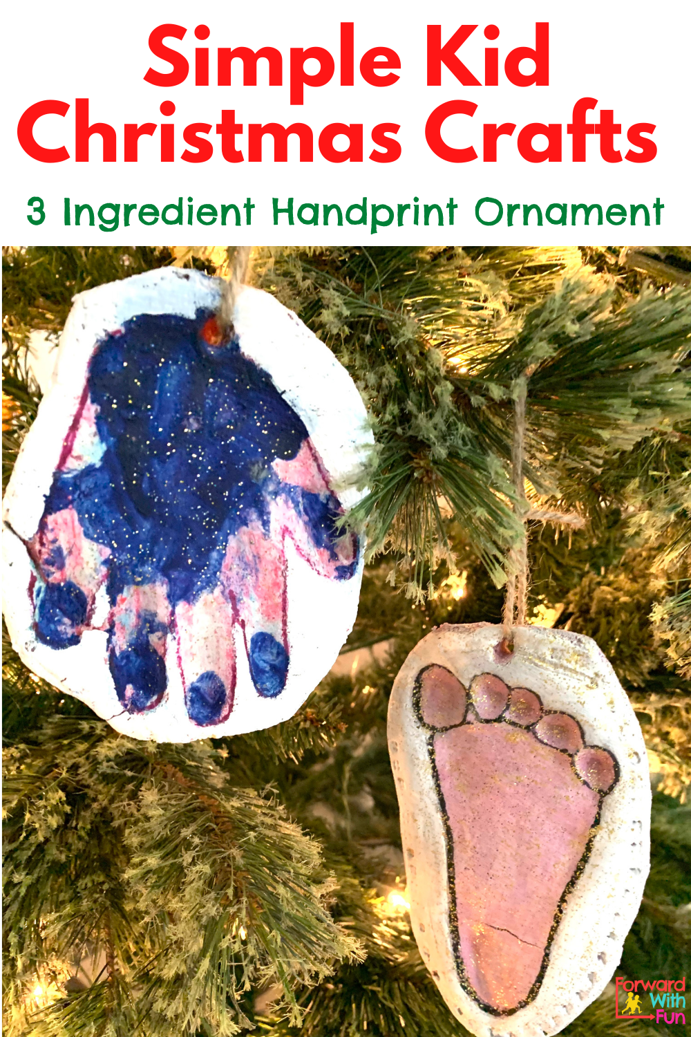 two Christmas craft ornaments