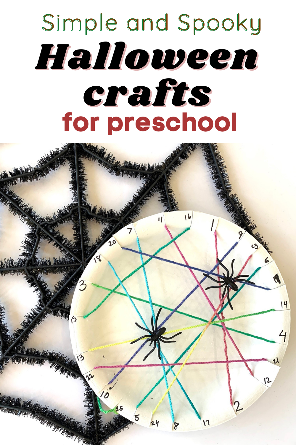 Spiderweb craft made from yarn and a paper plate