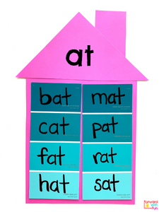 a paper craft house with AT on the room and paint chips with different rhyming at words on the bottom