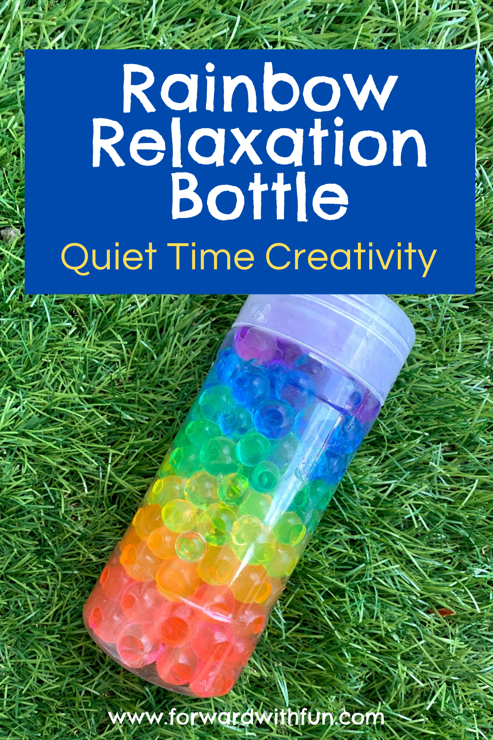 Rainbow of water beads crafted together inside a bottle