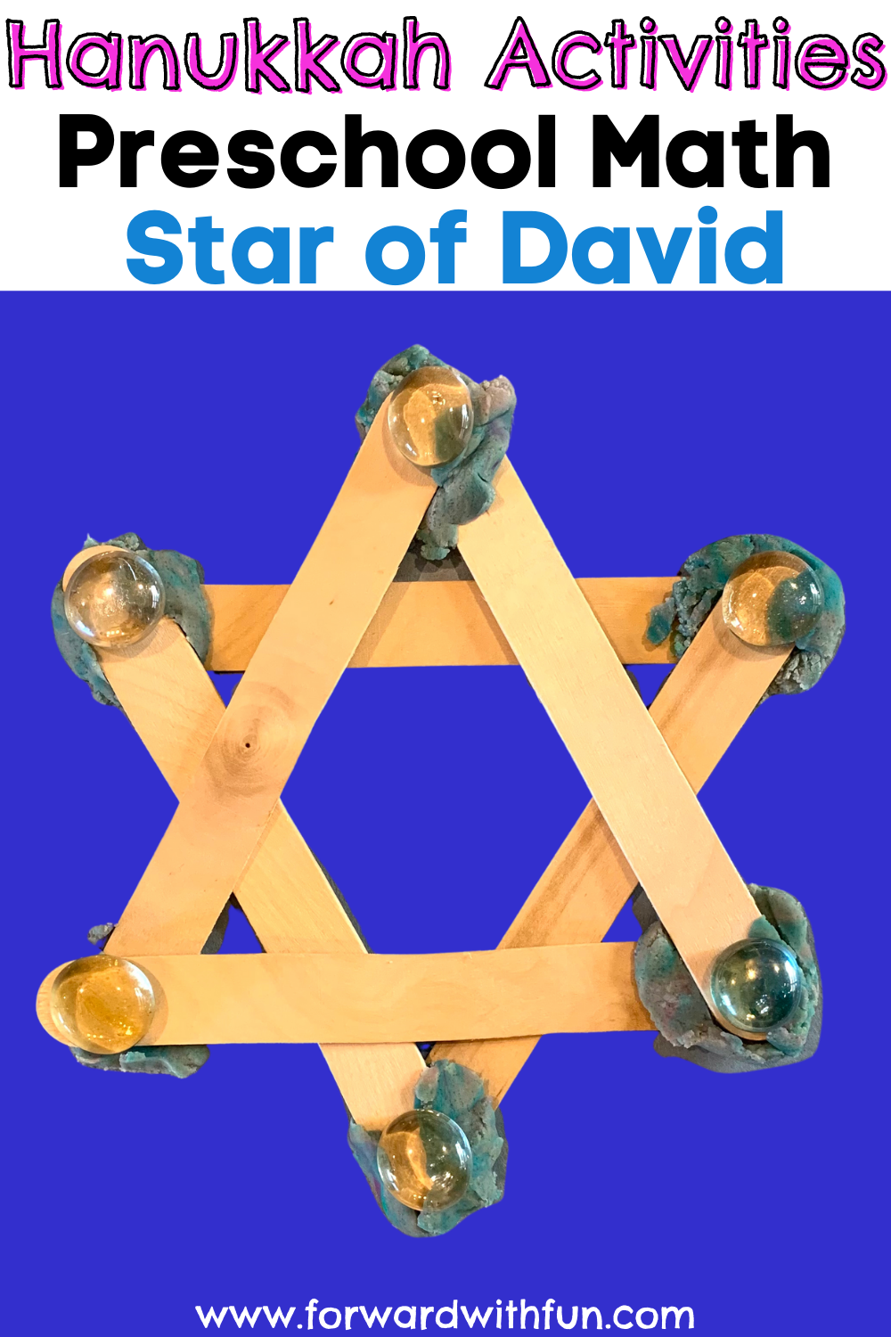 Star of David made with popsicle sticks and play-dough