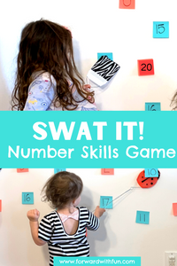 Two pictures where children are using fly swatters to hit different numbers as part of a number identification game
