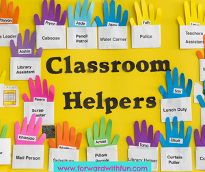 This poster of classroom helpers has many white pockets that list the classroom jobs such as caboose, pencil patrol, police, lunch duty. In each pocket is a different colored hand with a student name on it. This is a great example of environmental print for the classroom.
