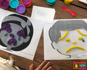 Play dough mats with sad faces