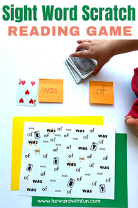 """child flipping a card from a deck. number 5 of hearts is placed next to the sight word """"was"""" written in red. Next to it a sight word """"of"""" is written in black. A page is at the bottom covered in the word was and of as well as mini face cards."""