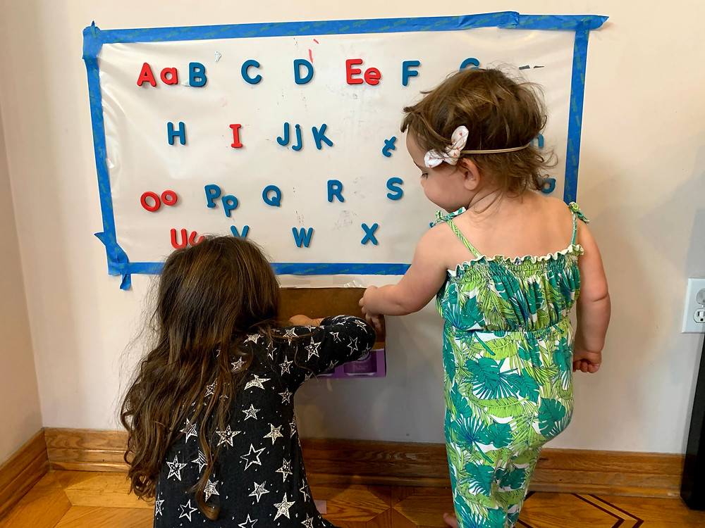 Use magnet letters to build words on the wall or sort lowercase and capital letters