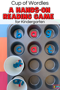 Cups have letters for kids to make CVC words in the muffin pan