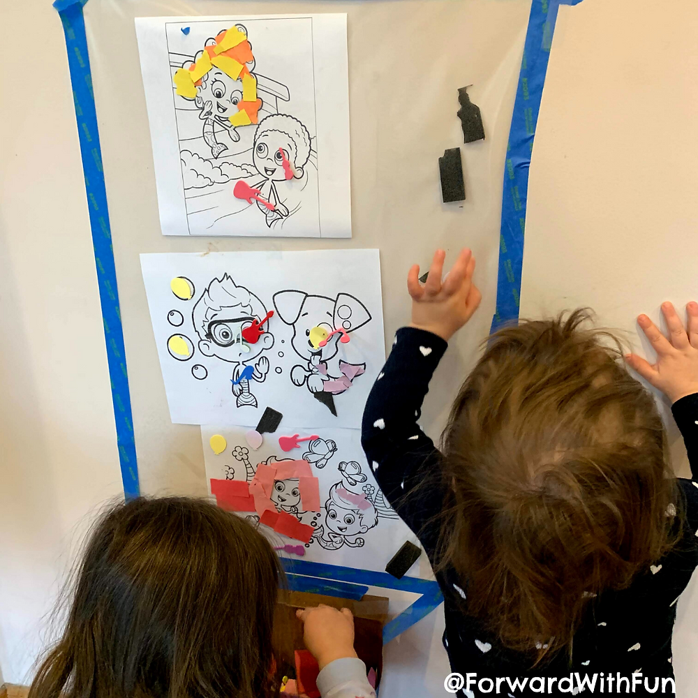 Place a coloring page behind your sticky wall to decorate your child's favorite characters.