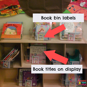 kindergarten classroom library with book bins that have labels kids can read. books face forward so that kids can see the pictures and title. lots of environmental print examples here.
